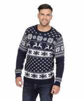 Donkerblauwe trui voor kerst met rendieren 10128375