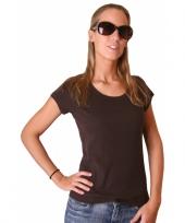 Donkerbruin bella shirt voor dames