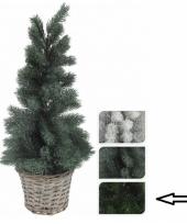 Donkergroene kunst kerstboom in mand 60 cm