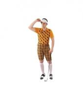 Drie delig golf kostuum oranje voor heren