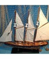 Driemaster miniatuur model schip van hout 64 cm
