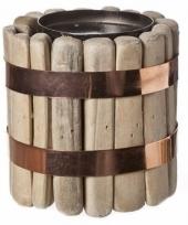 Drijfhout waxinelicht houder vancouver 12 cm 10085503