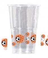 Drink beker plastic met voetbal