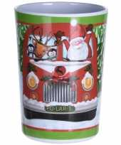 Drinkbeker kerstman en hulpjes in bus print 300 ml