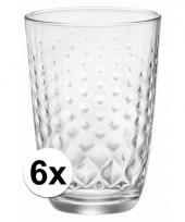 Drinkglazen set ruitjes gedeukt 390 ml 6 stuks