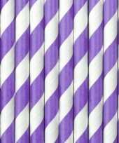 Drinkrietjes lila paars wit gestreept