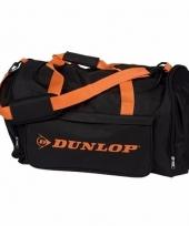 Dunlop weekendtassen zwart met oranje