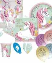 Eenhoorn believe kinderfeest themafeest pakket 8 personen