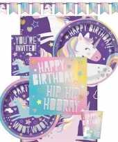 Eenhoorn hip hooray kinderfeest themafeest pakket 8 personen