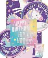 Eenhoorn hip hooray themafeest tafelversiering pakket 8 personen