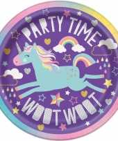 Eenhoorn thema paarse feest bordjes 8 stuks