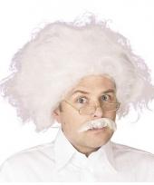 Einstein pruik en snor wit haar