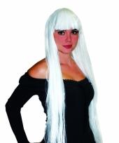 Elfen pruik damespruik lang wit haar met pony