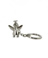 Engel sleutelhanger glanzend zilver