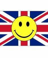 Engelse vlag met gele smiley 90 x 150 cm