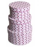 Etalage versiering rond doosje hartjes paars 14 cm