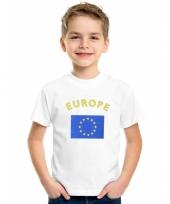 Europeesche vlaggen t-shirts voor kinderen