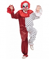 Evil clown complete outfit rood wit