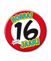 Extra grote button 16 jaar stopbord 10 cm