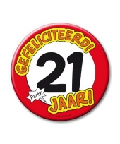 Extra grote button 21 jaar stopbord 10 cm