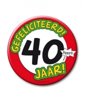 Extra grote button 40 jaar stopbord 10 cm