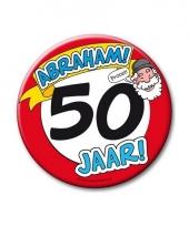 Extra grote button 50 jaar abraham stopbord 10 cm