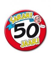 Extra grote button 50 jaar sarah stopbord 10 cm