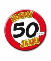 Extra grote button 50 jaar stopbord 10 cm