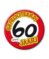 Extra grote button 60 jaar stopbord 10 cm