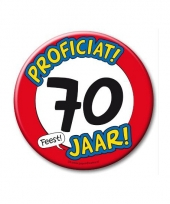 Extra grote button 70 jaar stopbord 10 cm