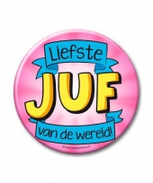 Extra grote button liefste juf 10 cm