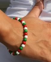 Fan kralen armband groen rood wit