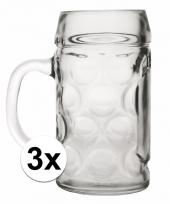 Feest bierpullen 1 liter 3 stuks