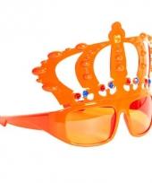 Feest bril oranje met kroon
