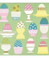 Feest servetten pasen aqua met gekleurde eieren 33 x 33 cm