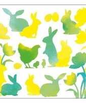 Feest servetten pasen groen geel 33 x 33 cm