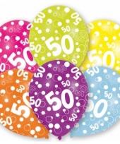 Feestartikelen gekleurde ballonnen 50 jaar 6 st
