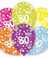 Feestartikelen gekleurde ballonnen 80 jaar 6 stuks