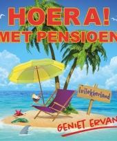 Feestartikelen hoera pensioen sticker 10 5 cm