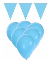Feestpakket licht blauw 15 ballonnen met 2 vlaggenlijnen