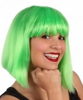 Feestpruik voor dames kort lime groen