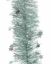 Feestversiering folie slinger sterretjes mintgroen 10 x 270 cm kunststof plastic kerstversiering