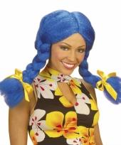 Fel gekleurde blauwe dolly pruik