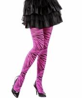 Fel roze legging met zebra print