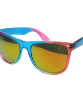 Festival zonnebrillen blauw met roze