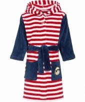 Fleece badjas gestreept rood wit voor kinderen