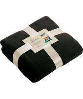 Fleece dekentje in zwarte kleur
