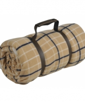 Fleece plaid schotse ruit beige