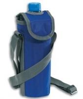 Flessen koeltasje blauw met schouderband