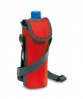 Flessen koeltasje rood met schouderband